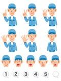 Um grupo de expressão da parte superior do corpo e de números de homens que vestem a roupa de trabalho azul que conta números com ilustração do vetor