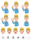 Um grupo de expressão da parte superior do corpo e de números de trabalhadores da construção que vestem a roupa de trabalho azul  ilustração do vetor