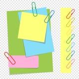 Um grupo de folhas coloridas de tamanhos diferentes e de grampos do escritório Estilo bonito dos desenhos animados Uma ilustração Fotografia de Stock