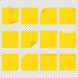 Um grupo de folhas pegajosas do escritório amarelo Uma ilustração lisa simples do vetor isolada em um fundo transparente ilustração royalty free