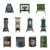 Um grupo de fornalhas antigas do 18as e século XIX para o heati imagem de stock royalty free