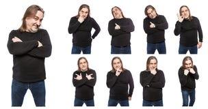 Um grupo de fotos de um homem de meia idade em v?rias poses e emo??es Uma colagem do isolado nas imagens de fundo brancas imagem de stock