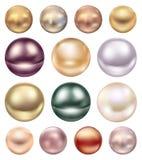 Um grupo de grandes pérolas do mar de cores diferentes Fotografia de Stock Royalty Free