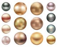 Um grupo de grandes pérolas do mar de cores diferentes Foto de Stock Royalty Free