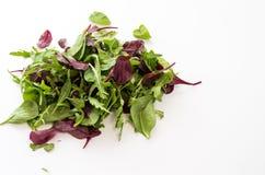 Um grupo de hortaliças Vegetais variados Verdes variados para a salada Foto de Stock