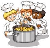 Um grupo de idioma dos cozinheiros chefe Imagem de Stock Royalty Free