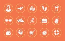 Um grupo de ilustrações do vetor para o registro de um assunto do turista ilustração royalty free