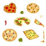 um grupo de imagens brilhantes da pizza para o menu ilustração stock