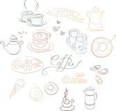 Um grupo de imagens do contorno de pratos do café Fotografia de Stock