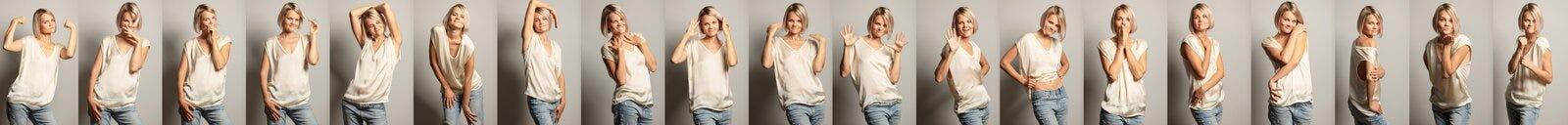 Um grupo de imagens de uma mulher bonita nova com emoções diferentes fotos de stock