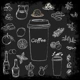 Um grupo de ingredientes para a preparação de receitas do café Ilustração do vetor para placas do menu fotografia de stock