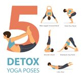 Um grupo de ioga postures figuras fêmeas para Infographic 5 poses da ioga Fotos de Stock Royalty Free
