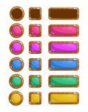 Um grupo de jogo do vetor abotoa-se para o projeto dos jogos e das aplicações Botões de madeira coloridos ilustração stock