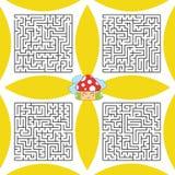 Um grupo de labirintos quadrados Um jogo para crianças e adultos Ilustração lisa simples do vetor Imagens de Stock Royalty Free