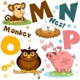 Um grupo de letras com imagens dos animais, palavras do alfabeto inglês Para a educação das crianças Partido 4 imagens de stock