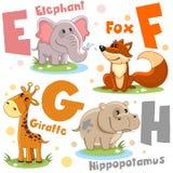 Um grupo de letras com imagens dos animais, palavras do alfabeto inglês Para a educação das crianças Partido 2 imagens de stock royalty free