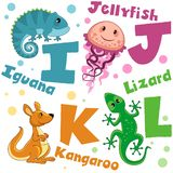 Um grupo de letras com imagens dos animais, palavras do alfabeto inglês Para a educação das crianças Partido 3 foto de stock royalty free