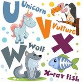 Um grupo de letras com imagens dos animais, palavras do alfabeto inglês Para a educação das crianças Partido 6 imagens de stock