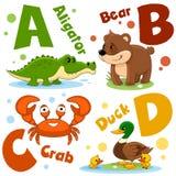 Um grupo de letras com imagens dos animais, palavras do alfabeto inglês Para a educação das crianças Partido 1 fotos de stock