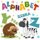 Um grupo de letras com imagens dos animais, palavras do alfabeto inglês Para a educação das crianças Partido 7 fotografia de stock