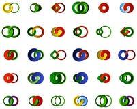 Um grupo de logotipos, de ícones e de elementos gráficos Fotografia de Stock Royalty Free