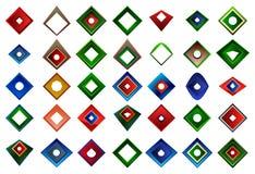 Um grupo de logotipos, de ícones e de elementos gráficos Foto de Stock