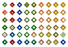 Um grupo de logotipos, de ícones e de elementos gráficos Foto de Stock Royalty Free