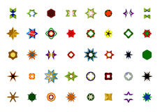 Um grupo de logotipos, de ícones e de elementos gráficos Fotos de Stock Royalty Free
