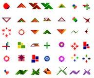 Um grupo de 42 logotipos e ícones ilustração do vetor