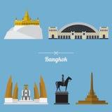 Um grupo de marco da cidade de Banguecoque no projeto liso Fotografia de Stock Royalty Free