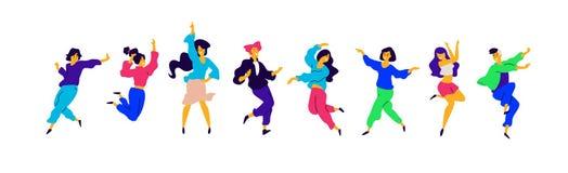 Um grupo de meninas felizes novas e os indivíduos estão dançando Vetor Ilustrações dos homens e das fêmeas Estilo liso Um grupo d ilustração royalty free