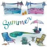 Um grupo de mobília exterior para o verão e a recreação para o peixe-agulha Foto de Stock Royalty Free