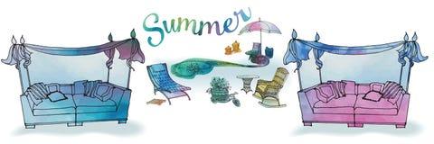 Um grupo de mobília exterior para o verão e a recreação para o peixe-agulha Fotografia de Stock Royalty Free