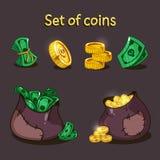 Um grupo de moedas e de dinheiro para o projeto de jogo Um saco do dinheiro e das moedas ilustração royalty free