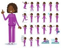 Um grupo de mulheres no sportswear com quem várias emoções expressas Há umas ações relativas aos locais de trabalho e aos computa ilustração royalty free