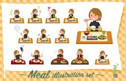 Um grupo de mulheres no sportswear sobre refeições Culinária japonesa e chinesa, pratos ocidentais do estilo e assim por diante  ilustração stock