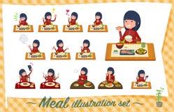 Um grupo de mulheres no sportswear sobre refeições Culinária japonesa e chinesa, pratos ocidentais do estilo e assim por diante  ilustração royalty free