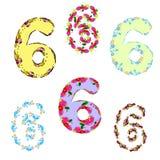 um grupo de números dos sixes do feriado para a decoração do aniversário ilustração stock