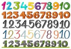 Um grupo de números e de fontes ilustração do vetor