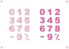 Um grupo de números, de um sinal negativo e de um sinal de por cento com um teste padrão colorido ilustração royalty free