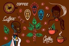 Um grupo de objetos em um tema do café em Etiópia As mulheres, copos de café, café ramificam, feijões de café, bagas, máscaras tr ilustração royalty free