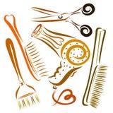 Um grupo de objetos para criar os penteados, um ` s do cabeleireiro ilustração stock