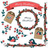Um grupo de ornamento do Natal com bagas ilustração do vetor