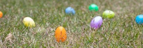 Um grupo de ovos da páscoa como um fundo pronto para ser caçado imagem de stock