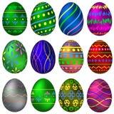 Um grupo de ovos da páscoa pintados com testes padrões coloridos Imagem de Stock