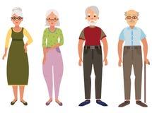 Um grupo de pessoas adultas Coleção das pessoas adultas no estilo dos desenhos animados O construtor do ancião Ilustração do veto ilustração royalty free