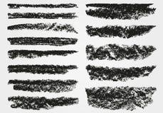 Um grupo de pinceladas do vetor Vector escovas Giz e carvão vegetal Pinte pontos Textura de Grunge ilustração do vetor