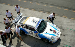 Um grupo de poço de Porsche na ação fotografia de stock royalty free