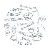 Um grupo de pratos ao estilo do esboço Fotos de Stock