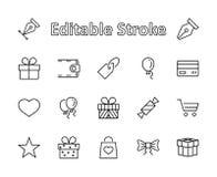Um grupo de presentes, linha ícones do vetor Contém vales-oferta, fitas e mais dos símbolos Curso editável pixel 32x32 ilustração do vetor